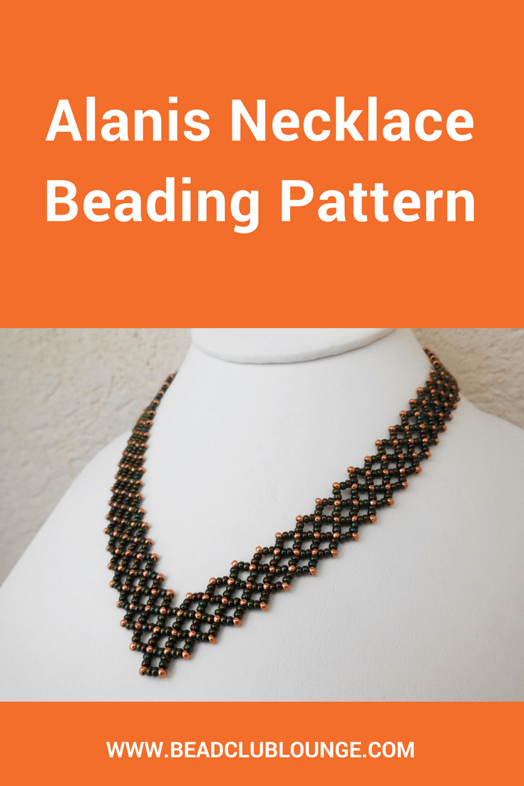 Use the Alanis Necklace beading pattern to create an elegant V-shaped beaded necklace. This seed bead necklace tutorial uses Right Angle Weave Stitch.