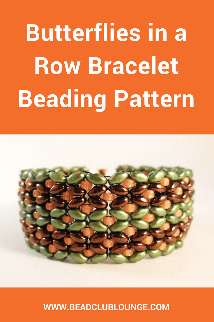 The Butterflies In A Row Bracelet beading pattern is easy enough for any skill level to complete using SuperDuo beads to form butterfly-like shapes.