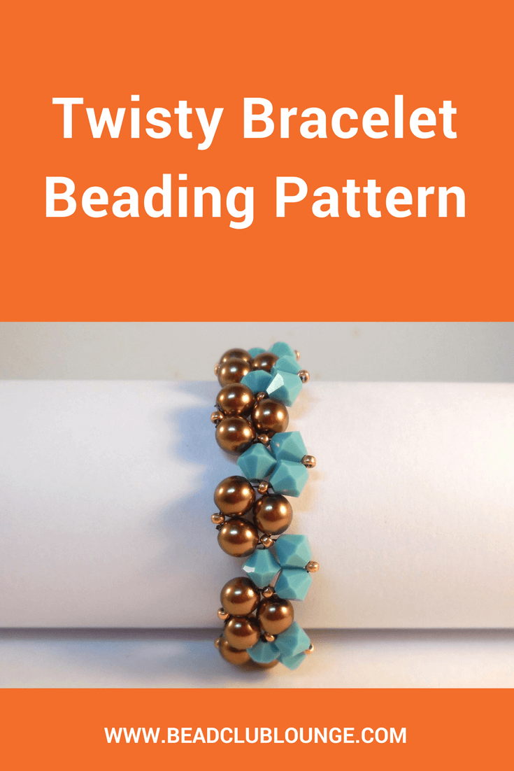 The Twisty Bracelet beading pattern is simple Triangle Weave bracelet tutorial that alternates bicones with pearls for a graceful winding effect.