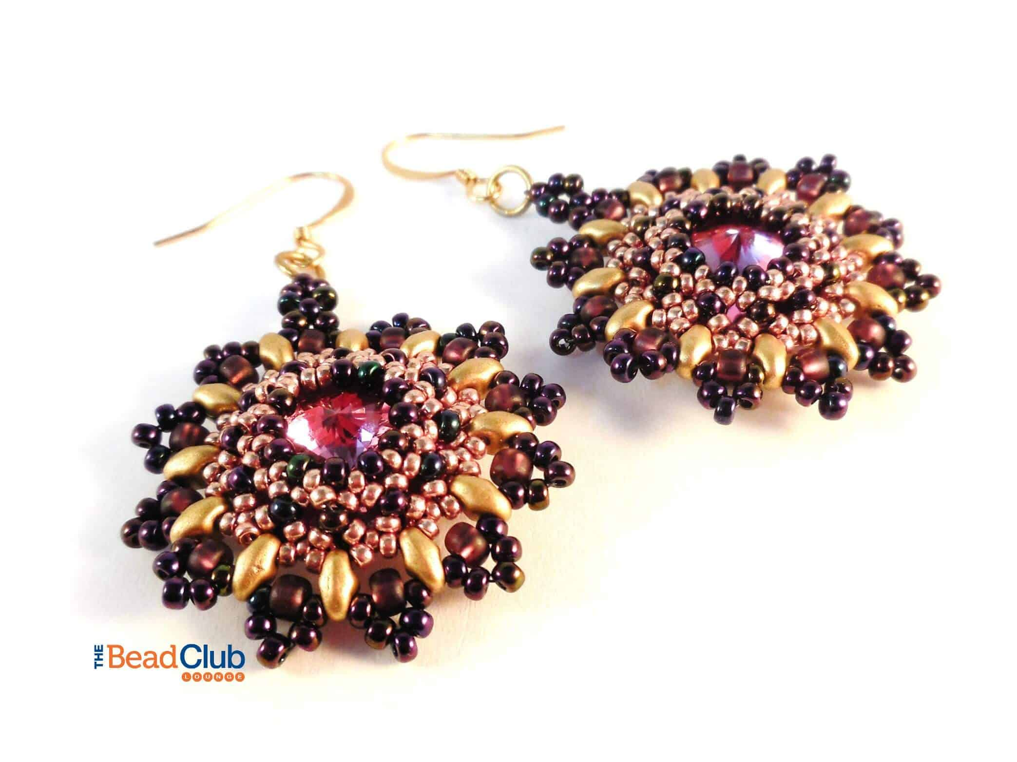 Download the Right Angle Weave beading pattern, Sunflower Earrings.