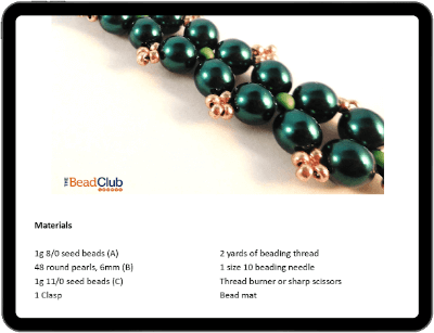 Annabelle Bracelet beading pattern on tablet