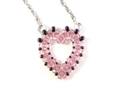 Open Heart Pendant Beading Pattern - The Bead Club Lounge